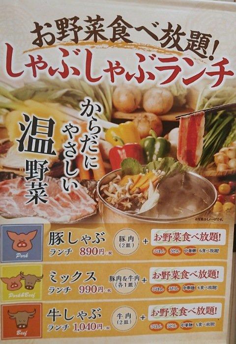 イオンモール高知しゃぶ菜:ランチメニュー