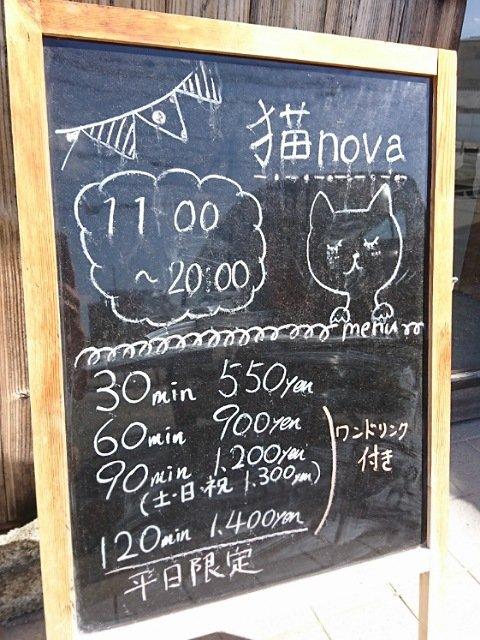 ネコカフェ猫nova:料金メニュー