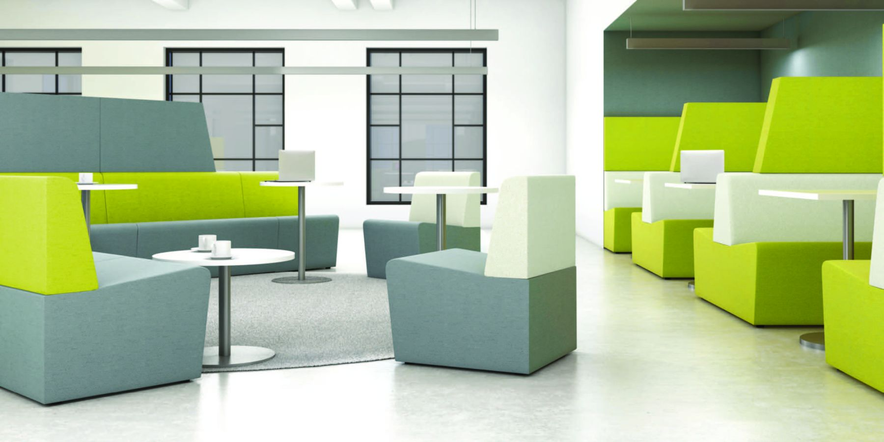 green seating area in healthcare sector