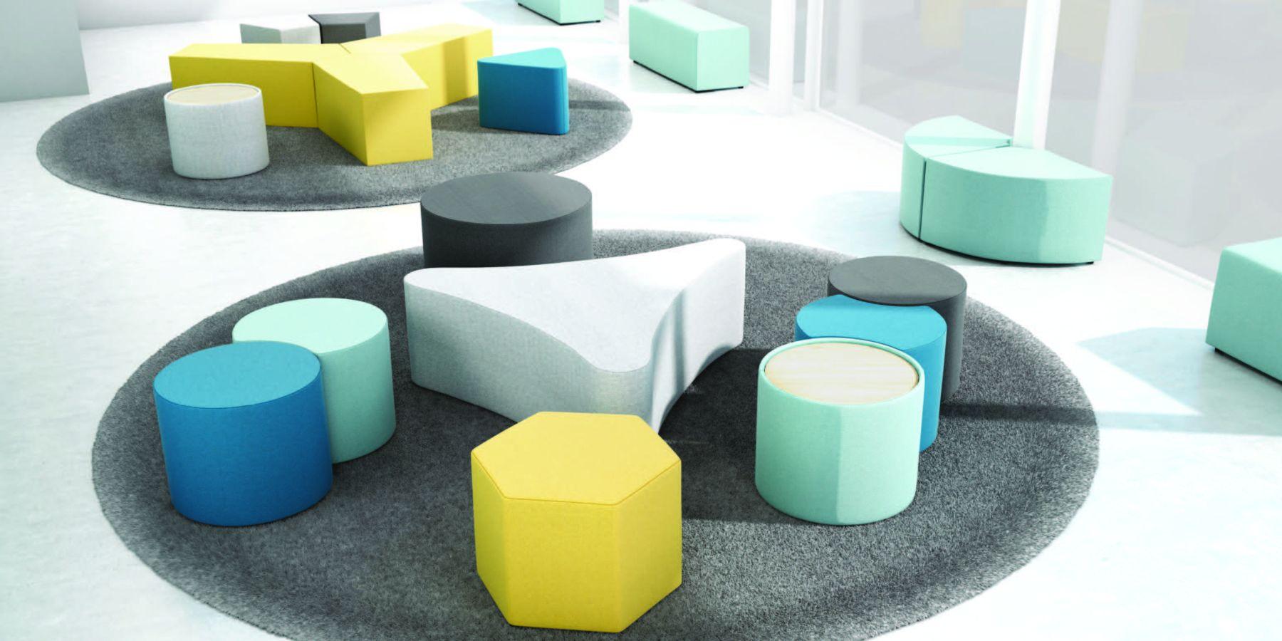 modular soft geometric shaped furniture