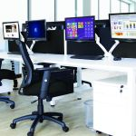 compact white office desk and chair