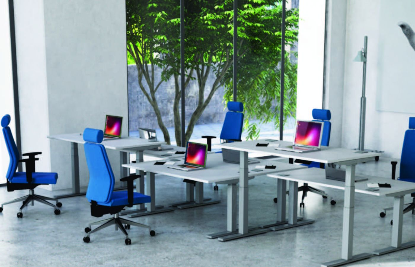 blue chairs for office and breakout
