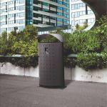 outdoor metal bin in the city
