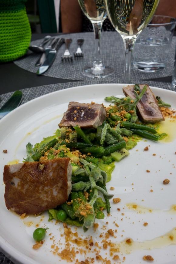 salade de thon mi-cuit, méli-mélo végétal, crémeux petit pois et poudre de cacahuète