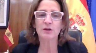La vicepresidenta cuarta y ministra para la Transición Ecológica y Reto Demográfico, Teresa Ribera, destaca entre los ponentes del foro, organizado por la embajada británica, sobre los retos de la próxima cumbre del Clima de la ONU que tendrá lugar en Glasgow. EFE/