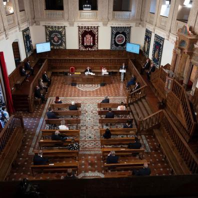 GRAF5882. ALCALÁ DE HENARES, 07/07/2021.- Vista general de la Cumbre de Académicos del Perfume celebrada hoy en el Paraninfo de la Universidad de Alcalá de Henares. EFE/Fernando Villar