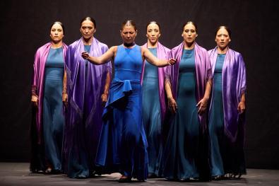 Spanish bailaora Sara Baras (C) presents her last performance 'Momentos' during the last day of Cap Roig festival in Gerona, Catalonia, Spain, 21 August 2021. EFE/David Borrat