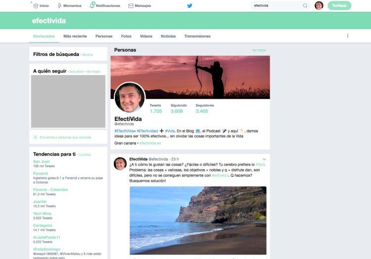Panel búsqueda Twitter