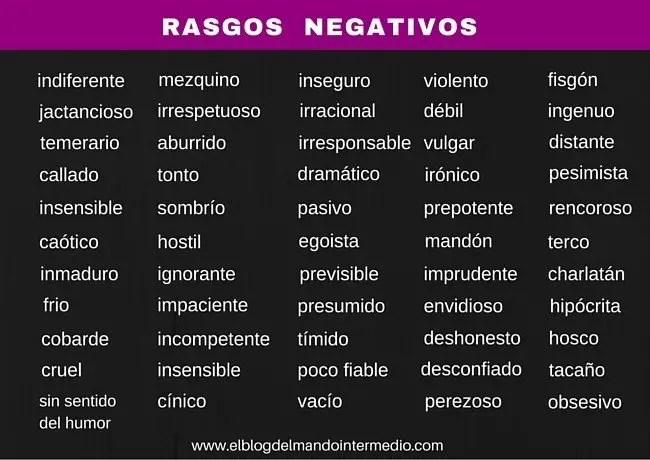 Rasgos negativos de la personalidad (ventana de Johari)