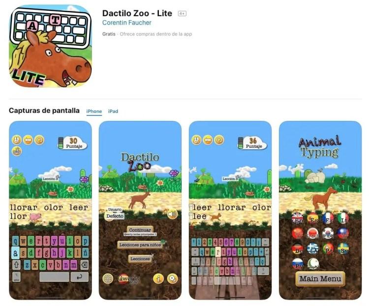 App para iOS para aprender mecanografia. Dactilo Zoo
