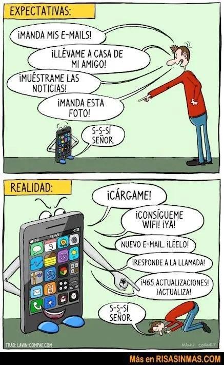 Expectativas del uso del móvil vs realidad