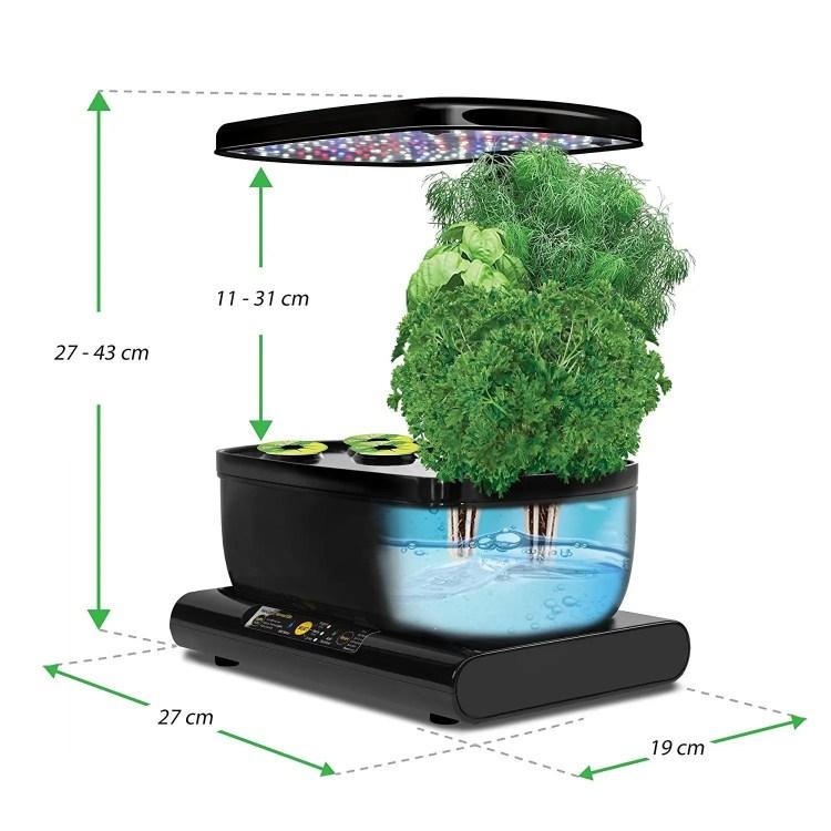 AeroGarden Harvest - Kit de cultivo interior hidropónico (medidas e interior)
