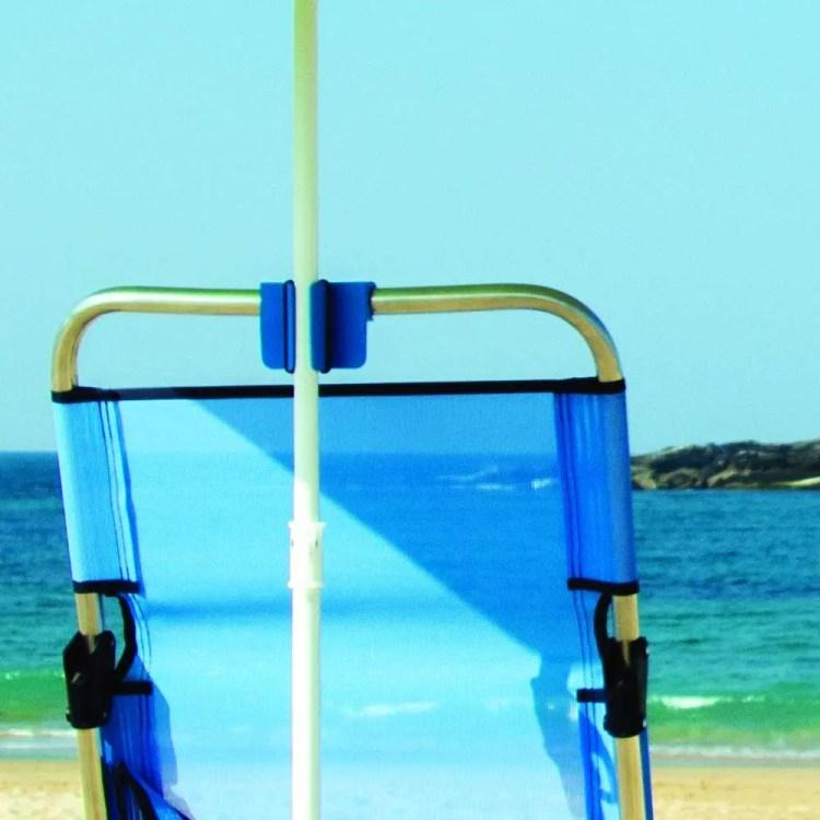 Accesorio para fijar sombrillas para la playa a una silla
