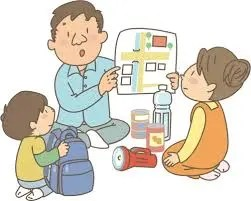 Un padre enseñando a sus hijos