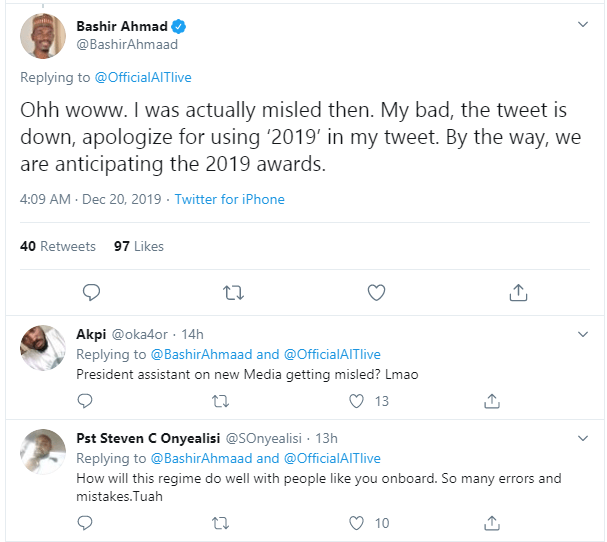 """DAAR Communications denies giving President Buhari the """"African President of the Year"""" award, counters his media aide Bashir Ahmed"""