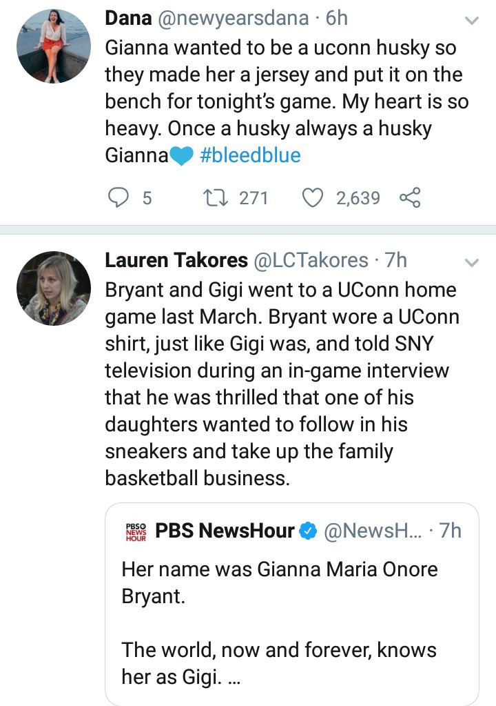 University of Connecticut pays tribute to Gianna Bryant by making her a custom jersey and saving her a seat on their bench