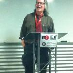 Bruce Sterling gives a lightning talk at #EFFSalon