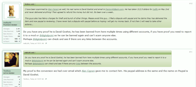DigitalPoint Forums proof of David G being a scammer #2