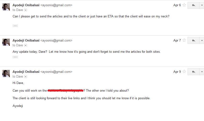 Discussion followed via email 8 (3 follow ups and no reply)