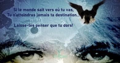 Si le monde sait vers où tu vas, Tu n'atteindras jamais ta destination... Laisse-les penser que tu dors!