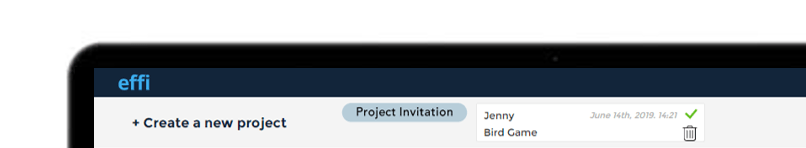 Effi project invitation on the effi dashboard.