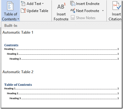 Automatic table of contents