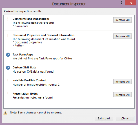 protect sensitive information with Document Inspector