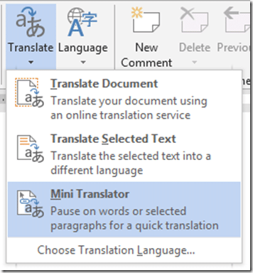 Mini Translator in Word