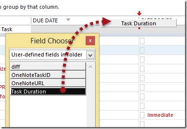 Outlook Task folder - Field Chooser - Task Duration