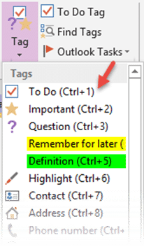 create checklist with OneNote tags