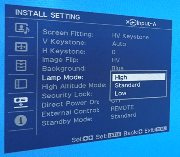 High Lamp mode in Sony Projector