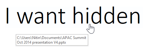 Hidden hyperlink shown. Pointer is a finger and the file name is shown as tooltip