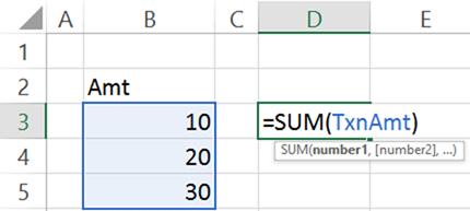 Using Range Names in Excel formulas