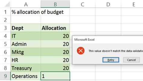 Data Validation using Formula - failed validation error
