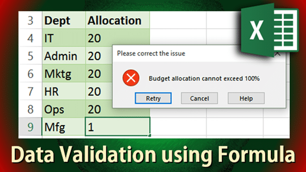 Data Validation using Formula poster