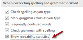 MS Word and SEO - Readability Statistics Option