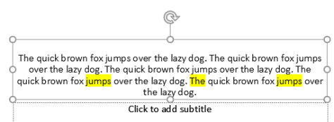 Highlight text in PowerPoint example