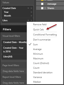 Quick Calc in Power BI - menu option