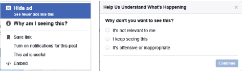 Ad actions in FB