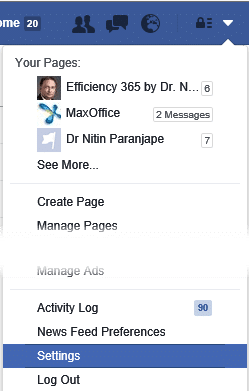 Settings option in FB