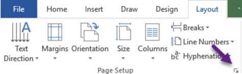 Page Setup launch button
