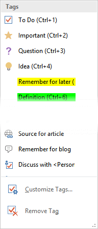 OneNote In Attendance tag - default tags