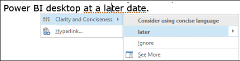 Word improved grammar check - concise languate