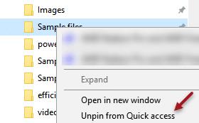 Unpin Quick Access Folder