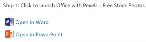 Installing Pexels for Word and PowerPoint