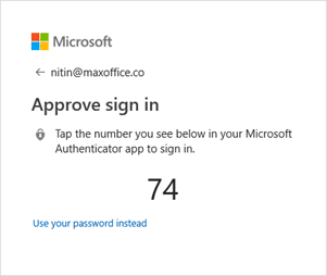 Password-less login screen showing a 2 digit number