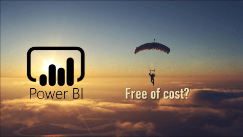 Power BI free of cost poster showing the logo and a skydiver