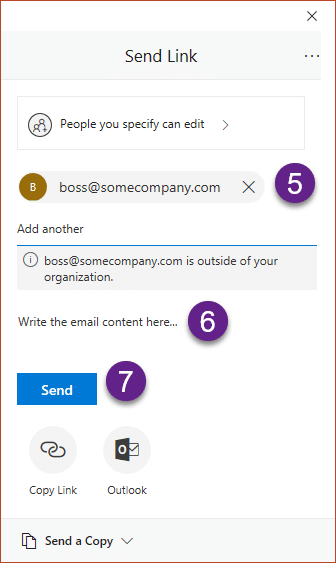 Share OneDrive Links - add email id and send