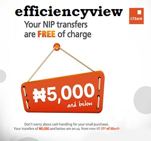 GTBank Transfer of N5000 and below is now free of Charge