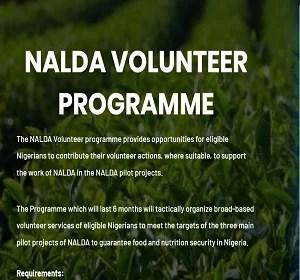 NALDA Volunteers Programme Registration Form Portal 2020/2021